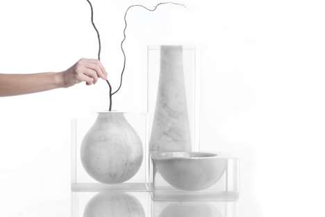 Suspended Marble Dishware - Moreno Ratti's Collection of Vases are Presented as Floating in Glass