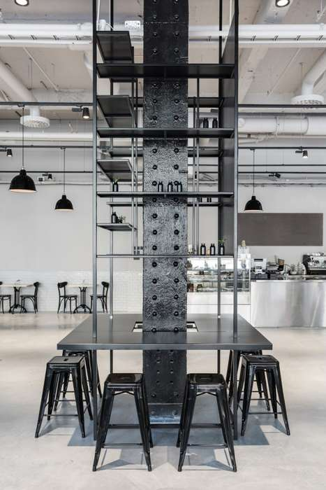 Industrial Restaurant Interiors - The Usine Restaurant Design Scheme Relies on Heavy-Duty Materials