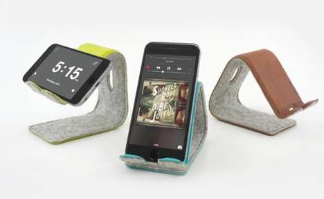 Bendable Leather Device Docks - The 'Stanley' Leather Smartphone Stand Cradles Devices Gently