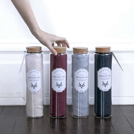 Bottled T-Shirt Packaging - Vestige Story Replaces Traditional Packaging With Reusable Glass Bottles
