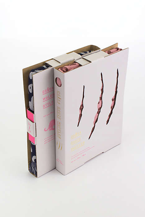 Book-Shaped Scarf Packaging - The Osaka Gauze Mufflers are Protected by Cardboard Sleeves
