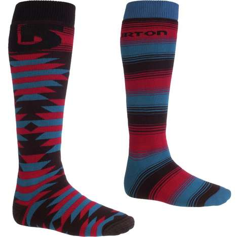Eclectically Colorful Performance Socks - These Burton Snowboard Socks Provide Comfort in Boots