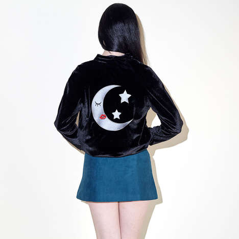 Mystical Bomber Jackets - Valfre's Lune Velvet Bomber is a Fun Translation of a Basic Jacket Style