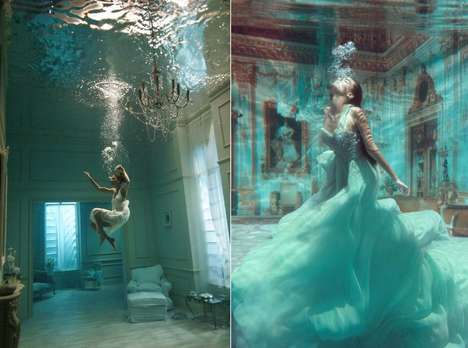 Regal Underwater Portraits - Phoebe Rudomino's Aquatic Photos Capture Homes Fully Submerged