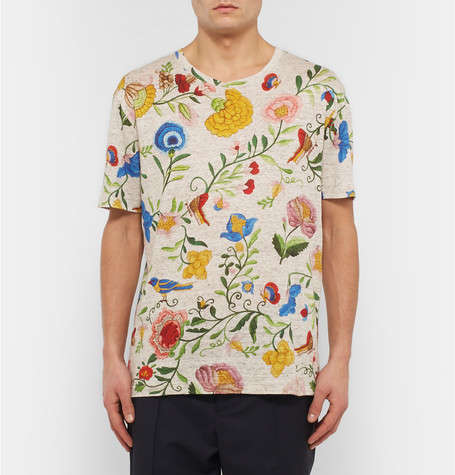 Over-Sized Floral Linen Shirts - This Floral-Print GUCCI Tee Features the Brand's S/S16 Imagery