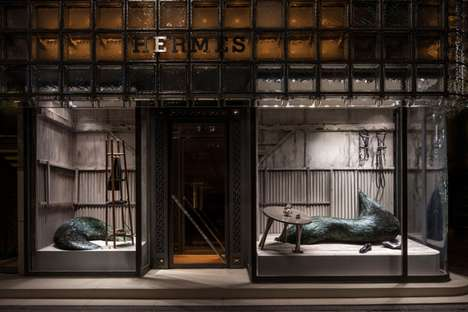 Undercurrent-Inspired Window Displays - The Windows at Hermes Tokyo Features Work by Kate MccGgwire