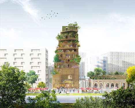 Eco Tower Architecture - This Urban Garden Structure Features Layered Green Spaces