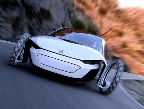 Hollow Wheel Vehicle Concepts - The Volkswagen 'Reset' Convertible Concept Harnesses Solar Power