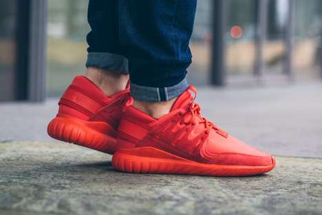 Neoprene Nova Sneakers - The Adidas Tubular Shoe Styles Opt for a Red Upper for Valentine's Day