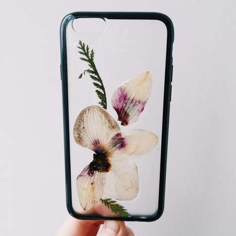 Foliage-Filled Phone Protectors - These Botanical Phone Cases Feature Dried Foliage Art