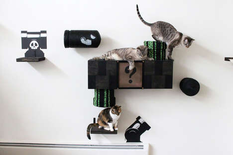 Arcade-Themed Cat Decor - The Mario Cat Complex 2.0 References an Iconic Video Game