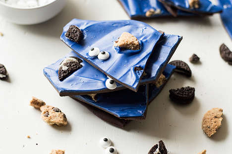 Character Cookie Barks - This Chocolate Dessert Honors the Cookie Monster with a Blue Hue