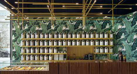 Tropical Tea Bar Interiors - The Odette Tea Room Boasts Wallpaper That is Clad with Banana Leaves