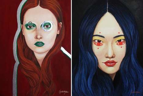 Alienesque Female Paintings - Chloe Butta Creates Otherworldly Portraits of Colorful Women
