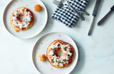 Savory Pizza Pancake Bagels - This Spin on the Morning Meal Incorporates Cheese and Tomato Sauce