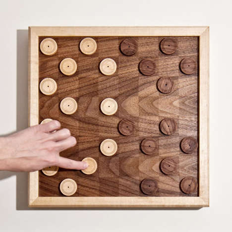 Contrasting Wooden Checker Sets - The Atelier-D Game Sources a Natural Aesthetic with Wooden Pieces