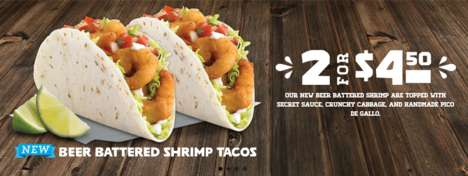 Boozy Fast Food Tacos - The New Beer Battered Shrimp Taco from Del Taco Gives Seafood an Upgrade