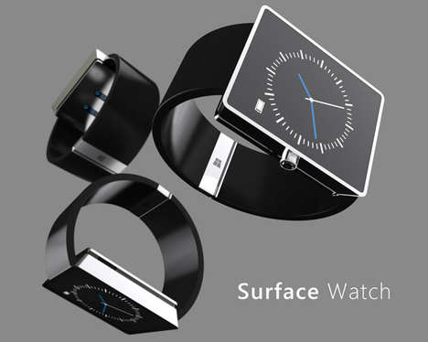 Boxy Smartwatch Concepts - This Microsoft Surface Smartwatch Concept Places Windows 10 on Your Wrist