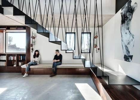 Suspended Steel Staircases - The Penthouse Features a Staircase Made from Criss-Crossing Steel Rods