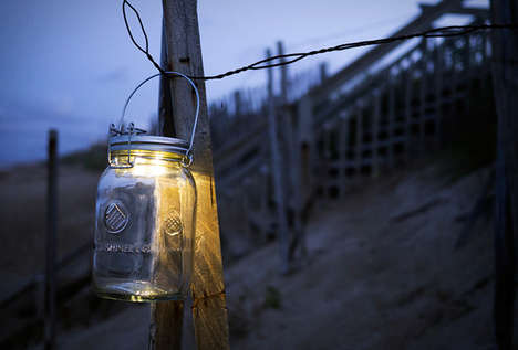 Luminous Mason Jar Lanterns - The Solar Mason Jar Serves a Sustainable Light Source for the Outdoors