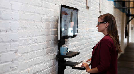 Wall-Mounted Desks - The StandCraft Creates a Workplace Against a Wall for Cafes or Offices