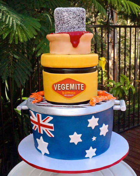 Celebratory Nation Cakes - This Dessert Commemorates Australia Day with Vegemite and Fish Decoration