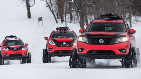 Snow-Shredding Crossovers - The Nissan Winter Warrior Vehicles Travel On Rugged Snow Tracks