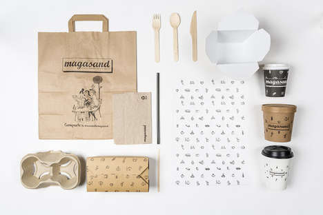 Chic Healthy Restaurant Branding - The Packaging for Magasand Healthy Food is Light and Quirky
