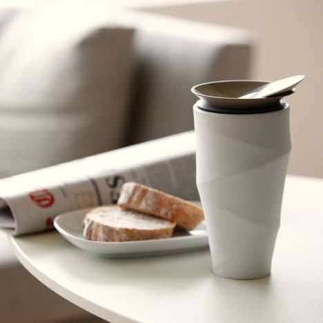 Porcelain Travel Mugs - The 'Wave' Commuter Mug Adds a Beautiful Experience to Morning Coffee
