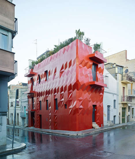 Crimson Geometric Facades - This Italian Home Features a Multifaceted Exterior in a Bright Red Hue