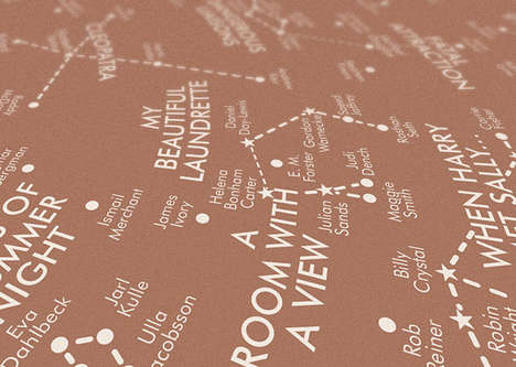 Romantic Film Maps - This Valentine's Day Poster Charts Popular Love Films as Constellations