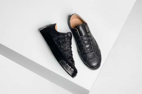 Androgynous Embossed Sneakers - These Masculine Converse Shoes Opt for an All-Black Flower Print