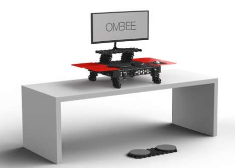 Standing Modular Desk Designs - The 'OMBEE' Portable Modular Standing Desk Encourages Healthy Work