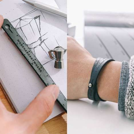 Leather Measuring Wristband - The Ruler Bracelet Lets Wearers Stylishly Keep a Meter Tool on Them