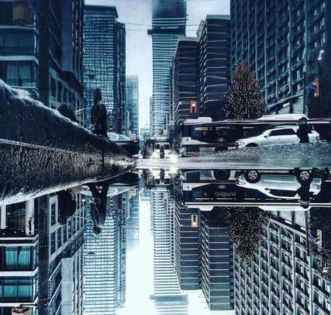 Reflective Cityscape Photography - The Parallel Worlds Series Shows Toronto Mirrored in Water