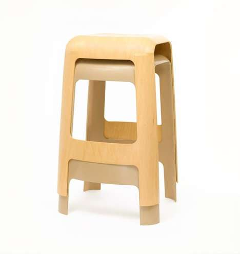 Single Sheet Stools - This Wooden Seat Design is Made Using One Sheet of Folded Plywood