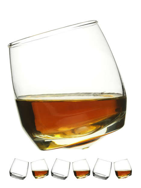 Angled Whiskey Tumblers - The Sagaform Liquor Glasses Feature a Curved Design for Proper Aeration