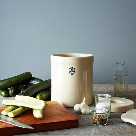 Rustic At-Home Fermentation Kits - This Pickling Crock Set Makes At-Home Fermentation Easy