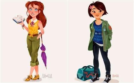 Millennial Disney Princesses - These Illustrations Showcase Disney Princesses In the 21st Century