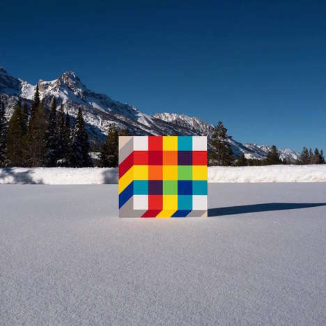 Color-Blocked Landscape Installations - These Colorful Geometric Paintings Contrast Real Landscapes