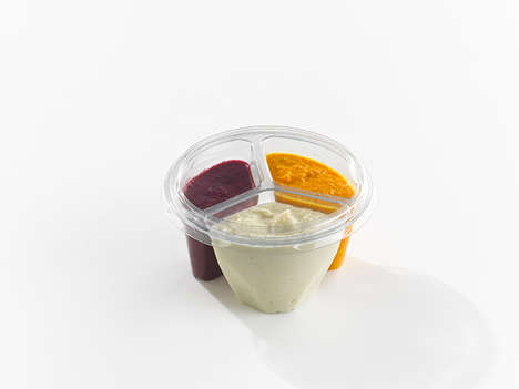Three-In-One Dip Containers - Belies' Portable Snack Dip Provides a Small Sampling of Three Dips