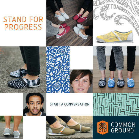Social Good Shoe Brands - The Common Ground Footwear Brand Desigs Shoes to Promote Social Awareness