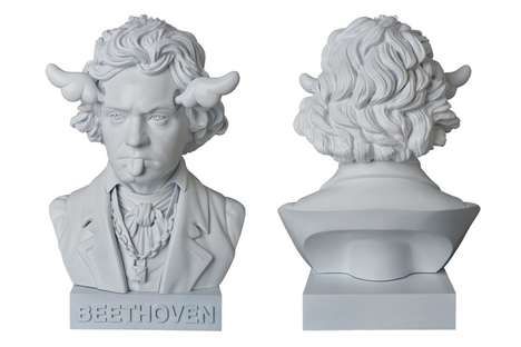 Silly Historic Sculptures - The D*Face x Medicom Toy Beethoven Bust Remixes the German Composer