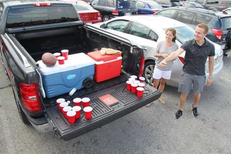 Pickup Truck Drinking Games - The Tailgate Pong Accessory Enables a Game of Beer Pong While Parked