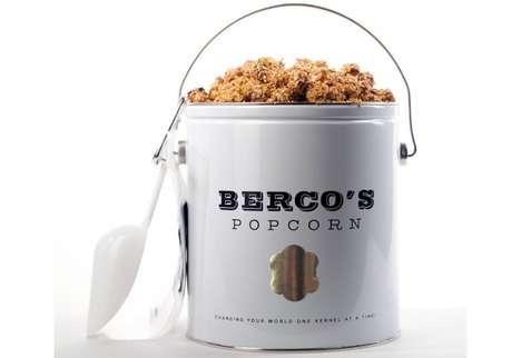 Gilded Popcorn Snacks - This Bucket of Luxury Golden Popcorn is Topped with 23 Karat Gold Flakes