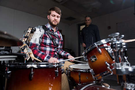 Robotic Drumming Machines - This Robotic Third Arm Helps Drummers Keep the Beat While Playing
