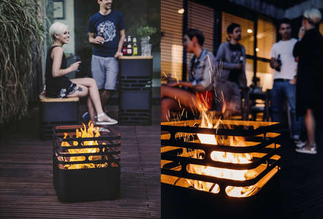 Portable Fire Pits - This Cube-Shaped Fire Basket is Made of Steel and is Completely Transportable