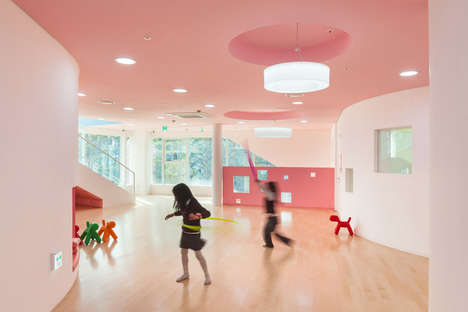 Curved Colorful Classrooms - The Flower Kindergarten Class Shows Whimsy and Learning Through Design
