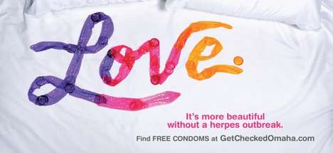 Colorful Contraception Ads - This STD Campaign Uses Phrases Spelled Out in Unwrapped Condoms