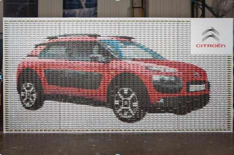 Miniature Car Mosaics - This Car Display from Citroën is Made of 3,000 Toy Models
